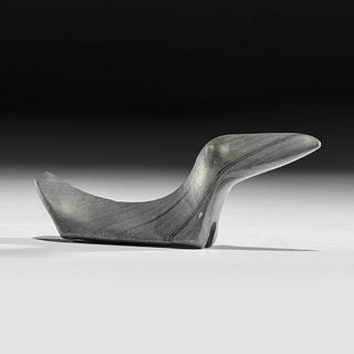 An Elongated Banded Slate Birdstone, Length 4-1/4 in.