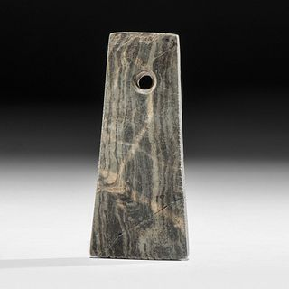 A Trapezoidal Banded Slate Pendant with Tally Marks, 4 in.