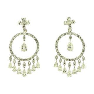 Platinum 36.00TCW Chandelier Earrings