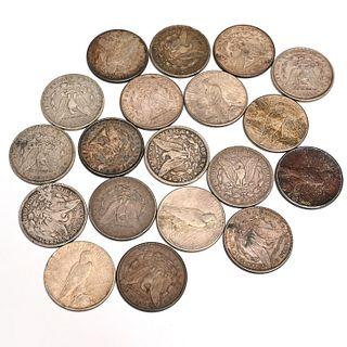 (13) Morgan and (6) Liberty Peace silver dollars