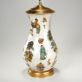 Chinoiserie decalomania table lamp