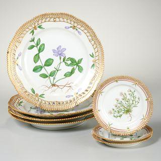 (7) Royal Copenhagen Flora Danica porcelain plates
