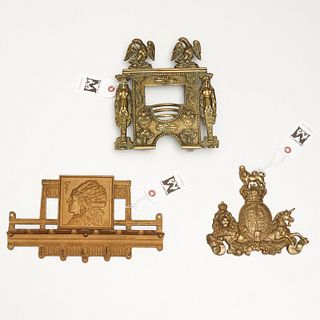 (3) antique cast iron and brass collectibles