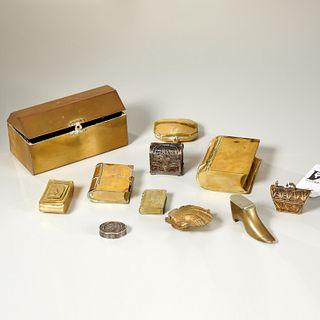 (11) antique miniature metalware boxes & snuffs