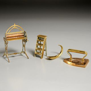 Group 18th & 19th c. miniature brass house objects