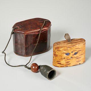 Antique birchbark snuff and cherry bark inro