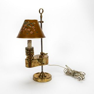 19TH/20TH C. ELECTRIFIED BRASS OIL LAMP TOLE SHADE