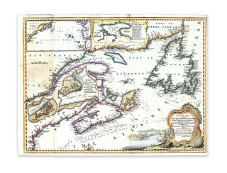 Bellin, Jacques Nicolas; Jeffreys, Thomas. A new chart of the coast of New England, Nova Scotia, New France or Canada, with the islands of Newfoundld.