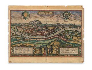 Braun & Hogenberg. Salzburgk - Recens et accuratissima urbis Salisburgensis delineatio