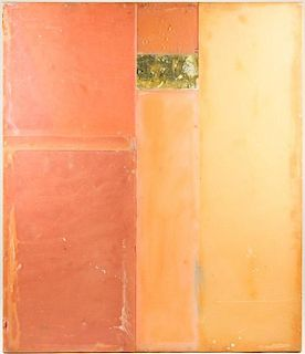 Dusty Griffith Encaustic Panel in Oranges & Pinks
