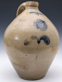 A BLUE DECORATED OVOID SALT GLAZED STONEWARE JUG