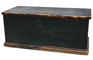 A 19TH C. SIX BOARD BLANKET CHEST IN OLD BLUE PAINT