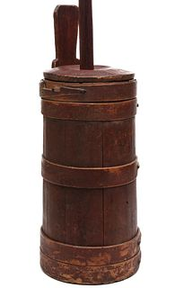 A 19TH C. SHAKER TYPE PIGGIN CHURN IN OLD RED PAINT
