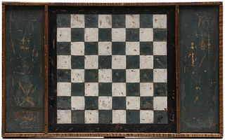 AN UNUSUAL 19TH C. AMERICAN GAME BOARD IN TIGER MAPLE