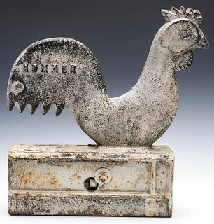 AN ELGIN CAST IRON ROOSTER WINDMILL WEIGHT IN OLD PAINT