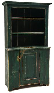 AN EARLY 19C CHILD'S OPEN CUPBOARD IN OLD GREEN PAINT
