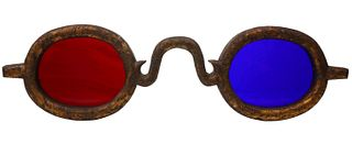A 19THC GILDED WOOD OPTOMETRIST SIGN WITH COLORED LENS
