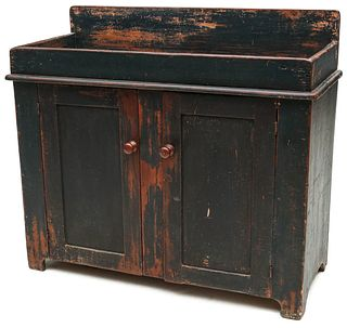 A GOOD 19TH C AMERICAN DRY SINK IN ORIGINAL GREEN PAINT