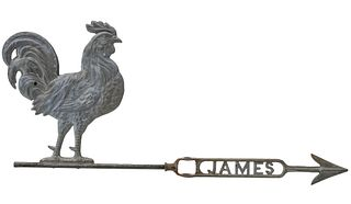A LIGHTNING ROD WEATHER VANE WITH ROOSTER CIRCA 1900