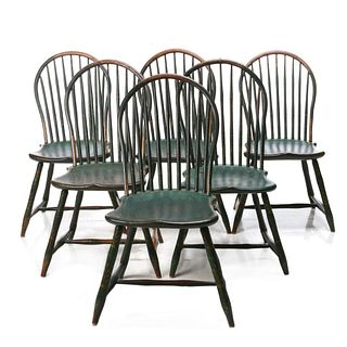 A VERY GOOD SET OF PAINT DECORATED 18C. WINDSOR CHAIRS