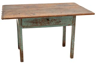 A 19THC AMERICAN SCRUB TOP WORK TABLE IN ORIGINAL PAINT