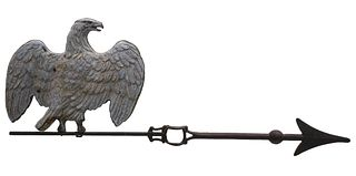 A LIGHTNING ROD WEATHER VANE WITH EAGLE CIRCA 1900