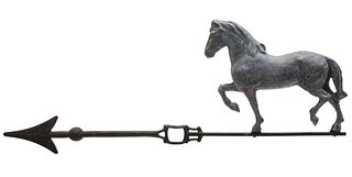 A LIGHTNING ROD WEATHER VANE WITH HORSE CIRCA 1900