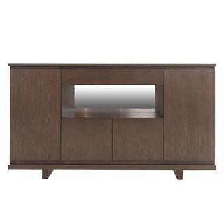 Trinchador. Siglo XX. En MDF color marrón. Con cubierta rectangular, vano central con espejo y 4 puertas. 91 x 160 x 46 cm.