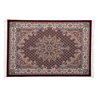 Tapete. Turquía. Siglo XXI. Estilo Mashad. Elaborado en fibras de lana y algodón. Decoado con medallón central. 230 x 150 cm