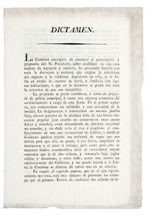 Tagle - Baz - Valdés. Dictamen sobre el Establecimiento de Talleres para Instrucción de Vagos. México, mayo 13 de 1824.