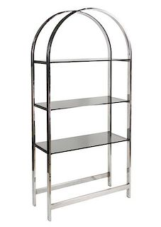Modernist Style Chrome Gl Arched Etagere