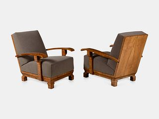 Pair of Art Deco High-Back Burl Walnut Lounge Chairs Height 32 5/8 x width 30 1/4 x depth 32 inches