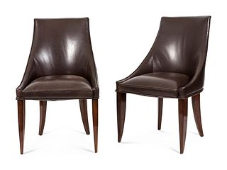 Attributed to Dominique (Andre Domin and Marcel Genevriere) A Set of Ten French Art Deco Leather-Upholstered Rosewood Dining Chairs