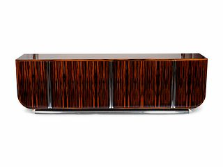 An Art Deco Style Steel-Mounted Macassar Credenza