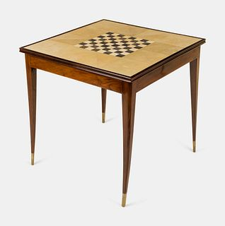 Manner of Jules Leleu Early 20th Century Art Deco Game Table, c. 1930removable shagreen-lined top revealing a felt-covered backgammon board