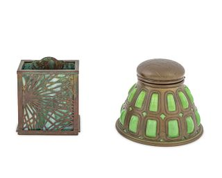 A Tiffany Studios Patinated Bronze and Glass Inkwell and a Pine Needle Pattern Card Holder