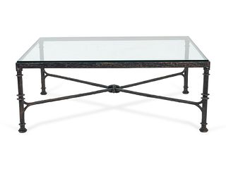 An Etruscan Style Bronze Low Table Height 18 1/4 x length 48 x width 36 1/4 inches.