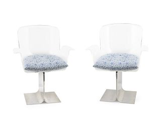 Six Acrylic and Aluminum Armchairs Height 33 x width 25 inches.