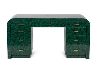 A Contemporary Green and Black Lacquer Pedestal Desk Height 30 1/4 x width 60 x depth 20 inches.