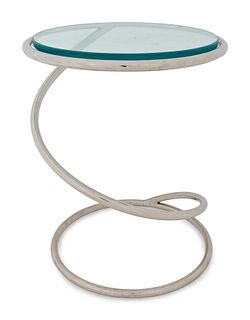 A Mid-Century Polished Chrome and Glass Spring Table Height 18 1/4 x diameter 13 3/4 inches.