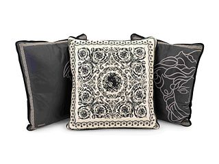 Three Versace Pillows Largest, 16 inches square.