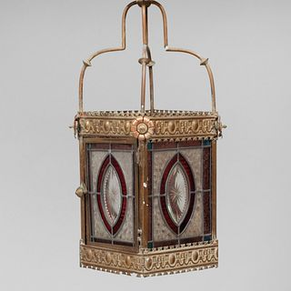 Brass Etched and Stained Glass Lantern, Possibly English