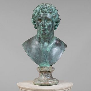 Italian Patinated Metal Bust of a Hellenistic Prince, Naples