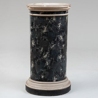 Italian Black Marble, Green Serpentine Terrazzo Marble and White Plaster Oval Pedestal