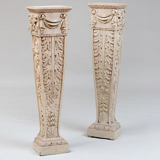Pair of Continental Grey Painted Pedestals, Probably North European