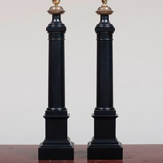 Pair of Tôle Columnar Form Lamps