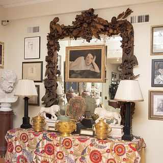 William and Mary Style Carved Wood Mirror, After Grinling Gibbons