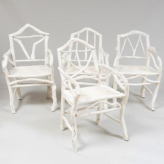 Four Moroccan White Painted Root Form Chairs, Rohuna