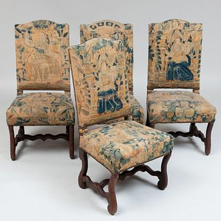 Four Louis XIV Walnut and Needlework Upholstered Side Chairs