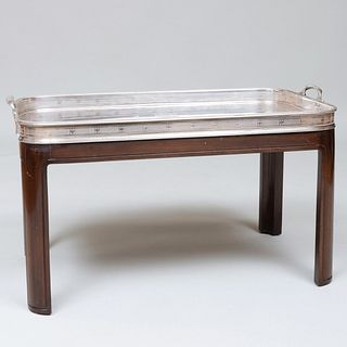 Large Victorian Silver Plate Tray on a Later Stand